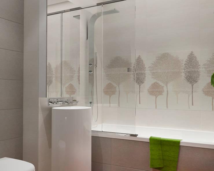 Малогабаритная однушка для молодой семьи: Ванные комнаты в . Автор – Мария Трифанова