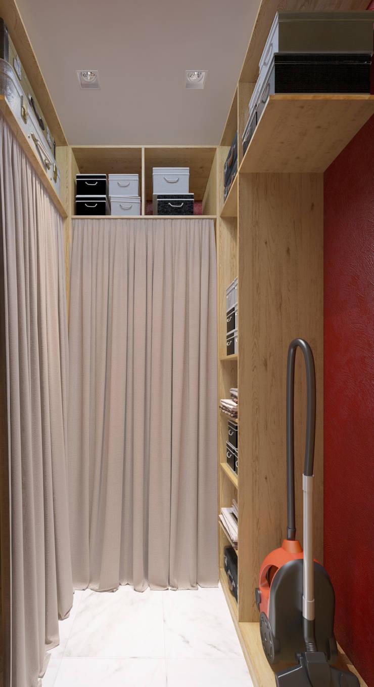 Проект трехкомнатной компактной квартиры: Гардеробные в . Автор – Katerina Butenko