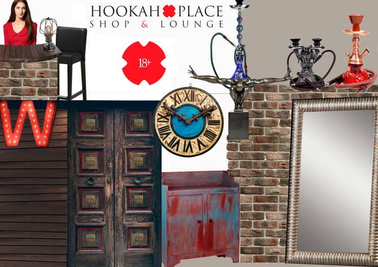 Проект формата <q>Концепт-борд</q> бара-кальянной <q>HookahPlace</q>: Офисные помещения и магазины в . Автор – Katerina Butenko
