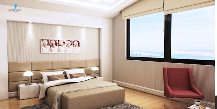 Çağrı Aytaş İç Mimarlık İnşaat – HANEDAN KONUTLARI: modern tarz Yatak Odası