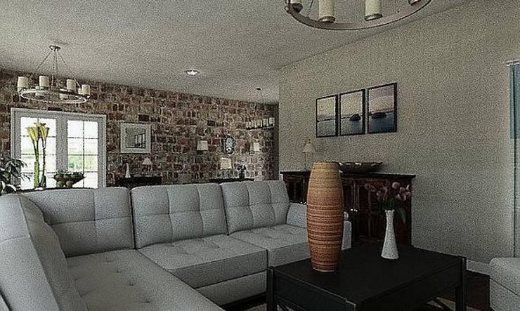 Casa pared de ladrillo: Salones de estilo  de MGC Diseño de Interiores