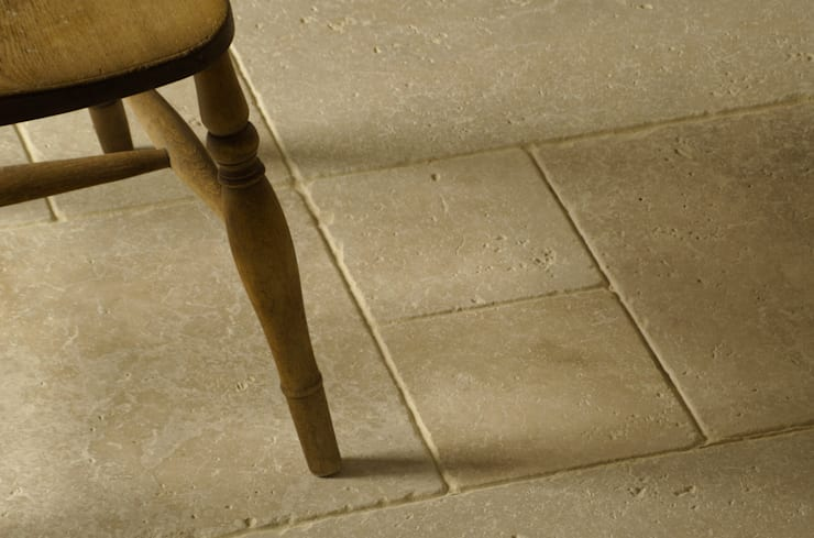Light Tumbled Travertine:  Kitchen by Floors of Stone Ltd