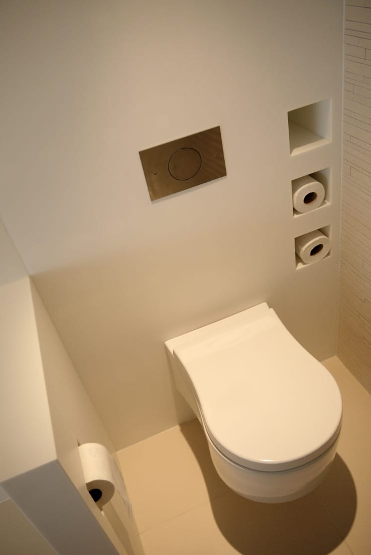 Toilet - solid surface:  Badkamer door Leonardus interieurarchitect
