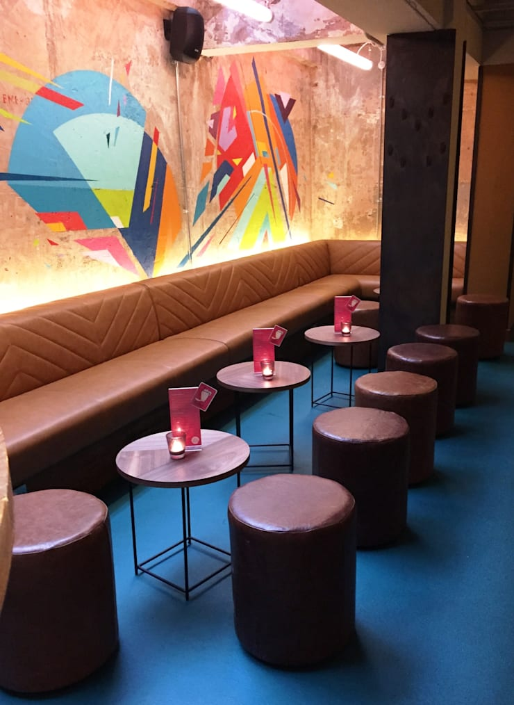 Wahaca, Margaret Street Bar Area:  Office spaces & stores  by Hillam Furniture