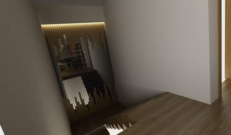 Niyazi Özçakar İç Mimarlık – H.Y. EVİ:  tarz Koridor, Hol & Merdivenler