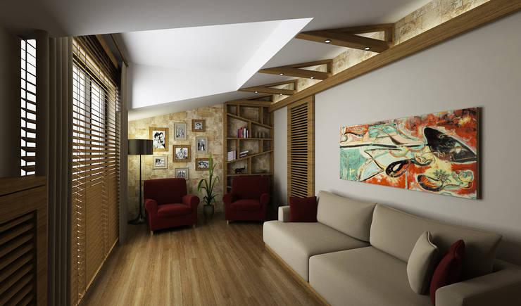 Niyazi Özçakar İç Mimarlık – H.Y. EVİ: modern tarz Oturma Odası