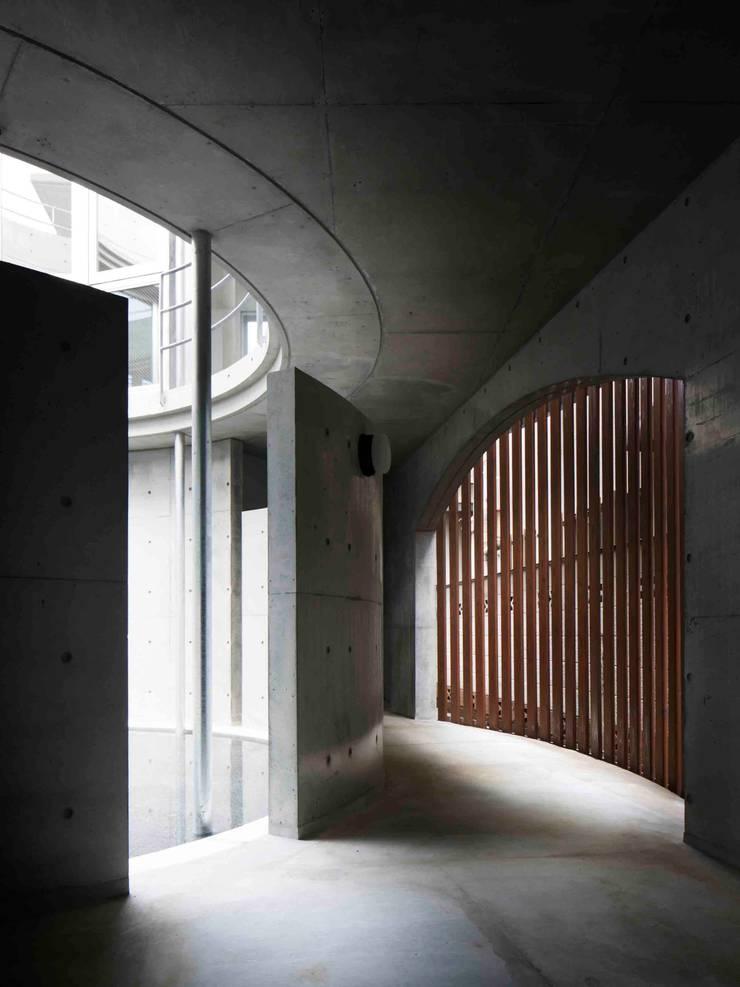 水盤のある都市型コンクリート住宅: スタジオ4設計が手掛けた廊下 & 玄関です。