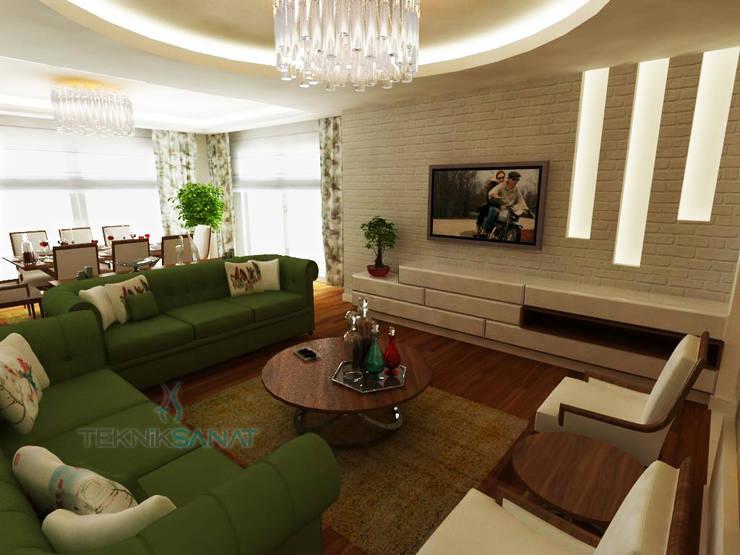 غرفة المعيشة تنفيذ TEKNİK SANAT MİMARLIK LTD. ŞTİ.
