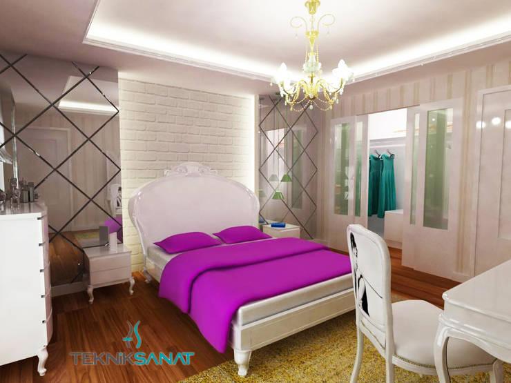 غرفة نوم تنفيذ TEKNİK SANAT MİMARLIK LTD. ŞTİ.