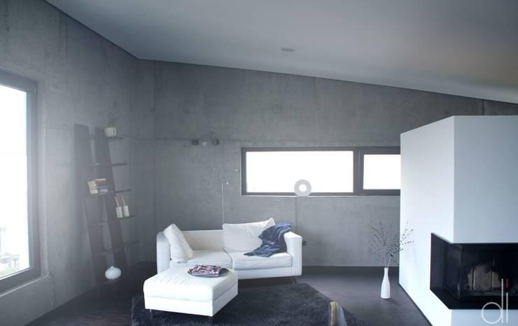 Neubau WOHNHAUS:  Wohnzimmer von di architekturbüro