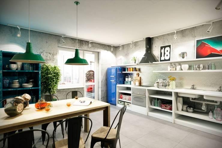 Каменный лофт: Кухни в . Автор – CO:interior