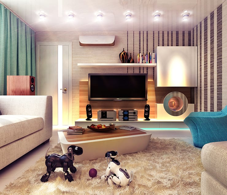 living room with the game box: Гостиная в . Автор – Your royal design, Минимализм