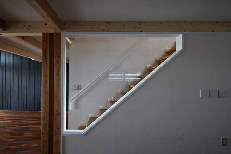 セミオープンの階段: 1級建築士事務所 アトリエ フーガが手掛けた廊下 & 玄関です。,北欧