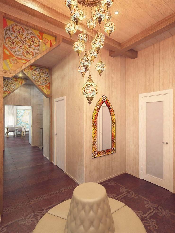 Pasillos, vestíbulos y escaleras eclécticos de Студия дизайна интерьера 'Золотое сечение' Ecléctico Madera Acabado en madera