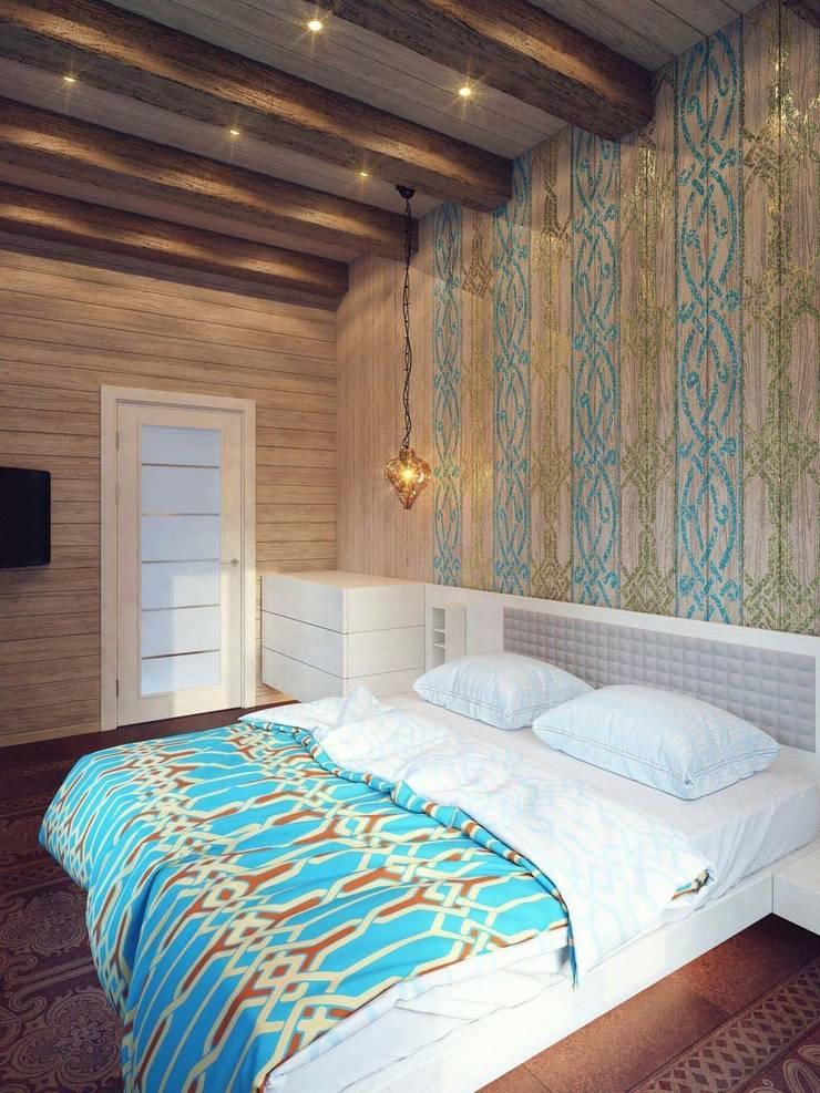 Dormitorios minimalistas de Студия дизайна интерьера 'Золотое сечение' Minimalista Madera Acabado en madera