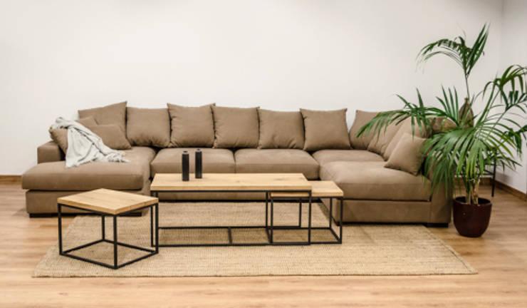 Sofá modular con dos chaise longue en tela color topo : Salones de estilo  de Cube Deco