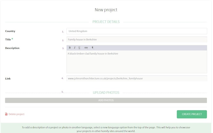 How do I create a project:   by homify UK