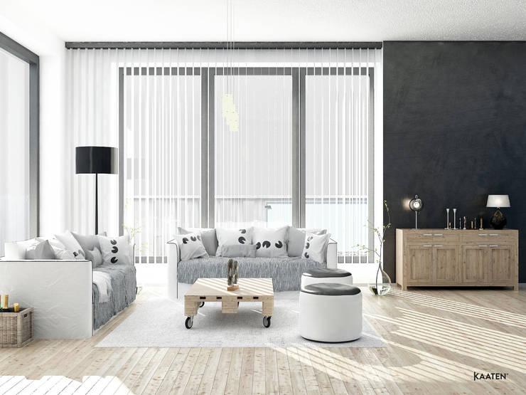 Cortina vertical salón - Kaaten: Salones de estilo escandinavo de Kaaten