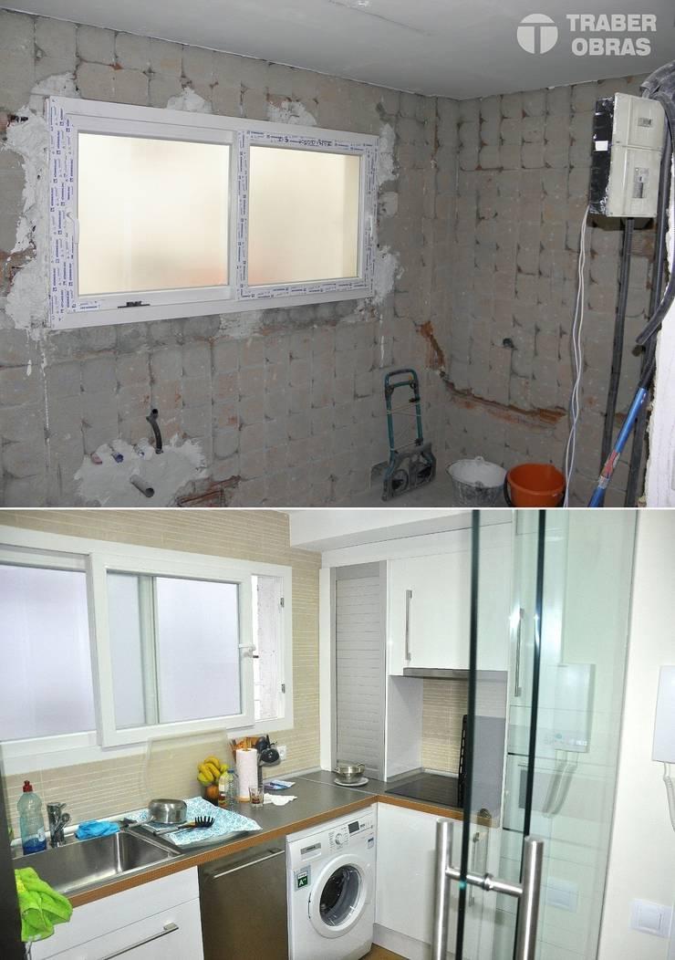 Reforma integral de vivienda en Madrid por Traber Obras. Cocina antes y después.:  de estilo  de Traber Obras