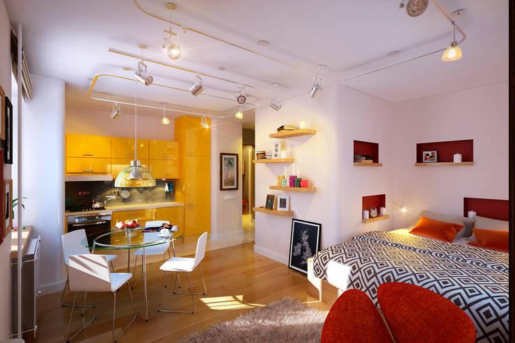 Квартира в ЖК «Ленсоветовский»: Гостиная в . Автор – Geometrium
