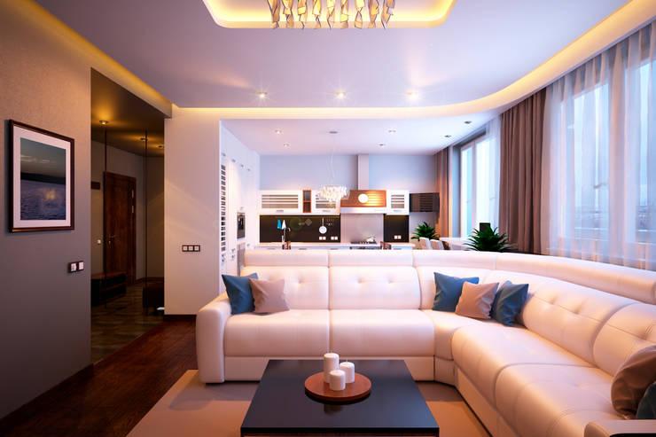 Квартира в ЖК «Александрия»: Гостиная в . Автор – Geometrium