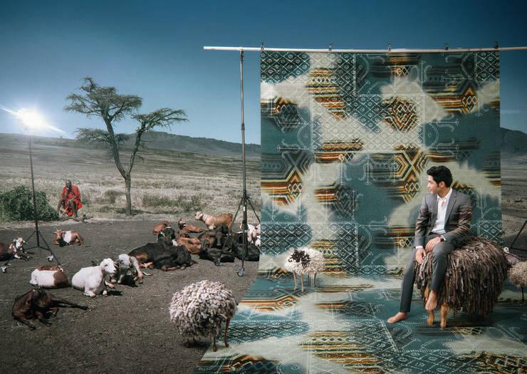 Muurbloem Design Studio Floorfashion; Dashiki:  Muren & vloeren door Muurbloem Design Studio