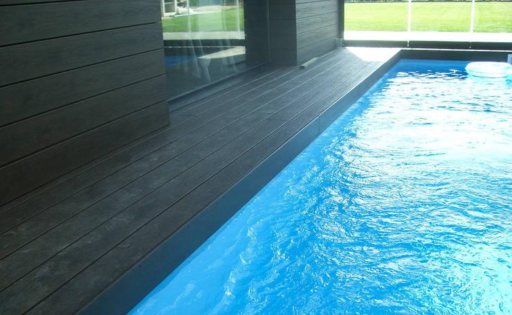 Detalle de piscina cubierta: Casas de estilo  de Rubén Sánchez Albillo. Arquitecto