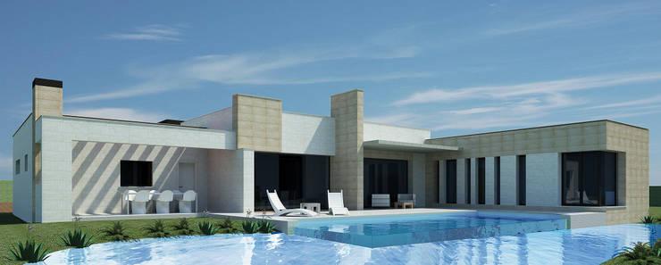 Terraza sur con piscina-lago: Casas de estilo  de Rubén Sánchez Albillo. Arquitecto