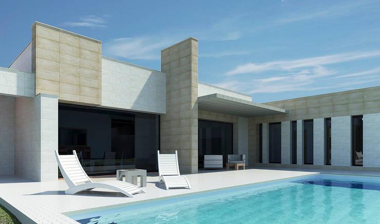Detalle terraza sur: Casas de estilo  de Rubén Sánchez Albillo. Arquitecto