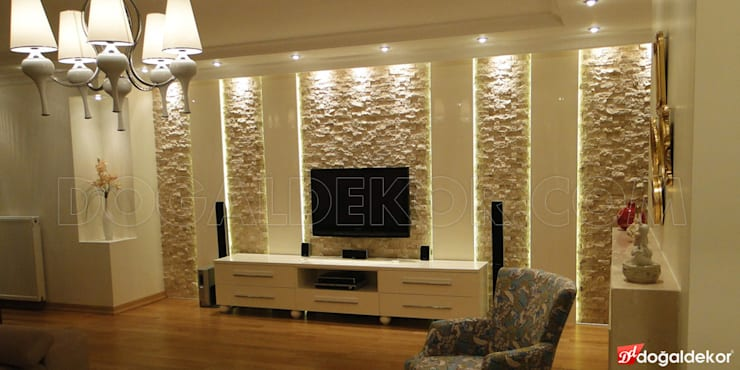 Modern living room by DOĞALDEKOR | DEKORATİF DOĞAL TAŞ & MERMER & TRAVERTEN ÜRETİCİ Modern Stone