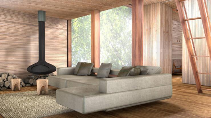 Inhabit Tree House, Woodstock, New York:  Living room by antonygibbondesigns