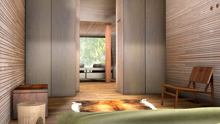 Inhabit Tree House, Woodstock, New York:  Bedroom by antonygibbondesigns