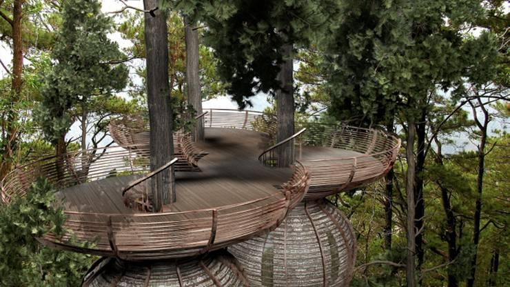 Roost Tree House:  Terrace by antonygibbondesigns