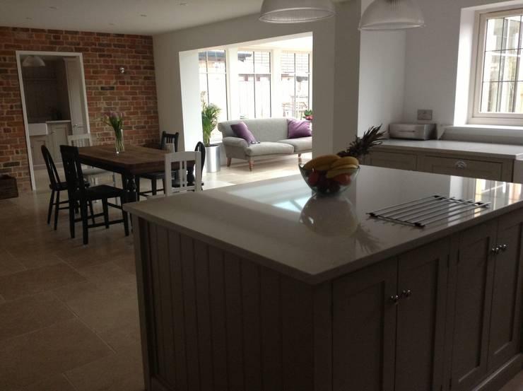 Dijon Tumbled Limestone - Kitchen/Garden Room:  Kitchen by Floors of Stone Ltd
