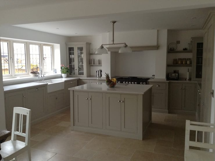 Dijon Tumbled Limestone - Kitchen:  Kitchen by Floors of Stone Ltd