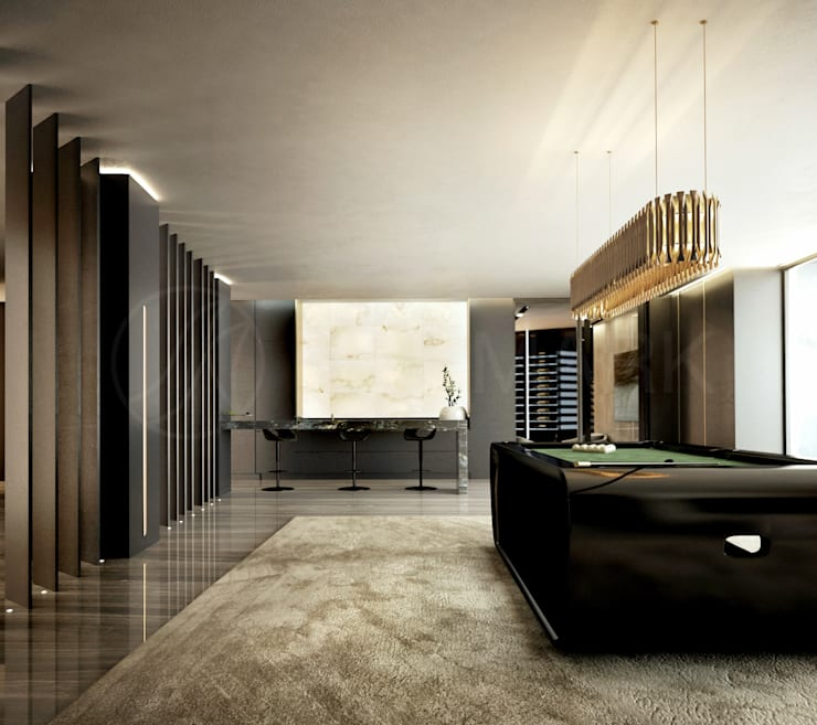 Интерьеры особняка Bowmont Residence, LA, USA: Медиа комнаты в . Автор – Марина Анисович, студия NEUMARK