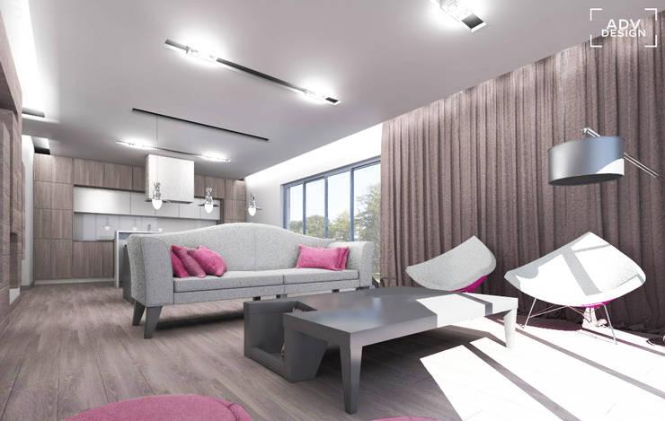 Przestrzeń dzienna - salon: styl , w kategorii Salon zaprojektowany przez ADV Design