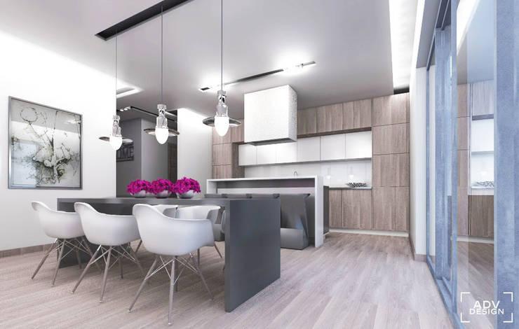 Przestrzeń dzienna - jadalnia, kuchnia: styl , w kategorii Kuchnia zaprojektowany przez ADV Design