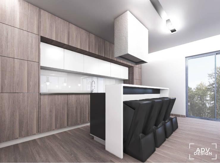 Przestrzeń dzienna - kuchnia: styl , w kategorii Kuchnia zaprojektowany przez ADV Design