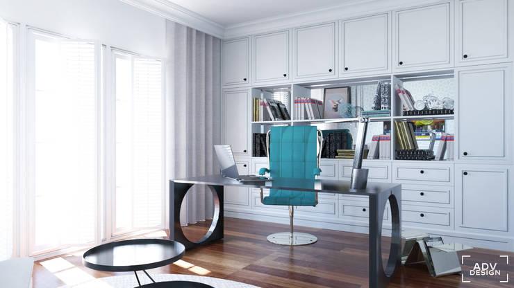 Część dzienna - gabinet: styl , w kategorii Domowe biuro i gabinet zaprojektowany przez ADV Design