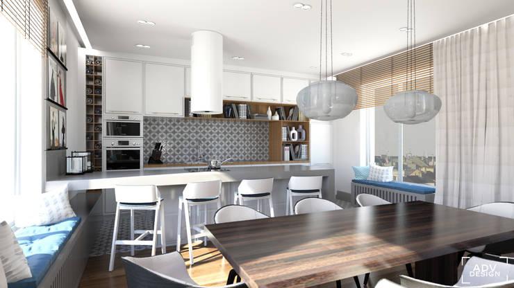 Część dzienna - jadalnia, kuchnia: styl , w kategorii Jadalnia zaprojektowany przez ADV Design