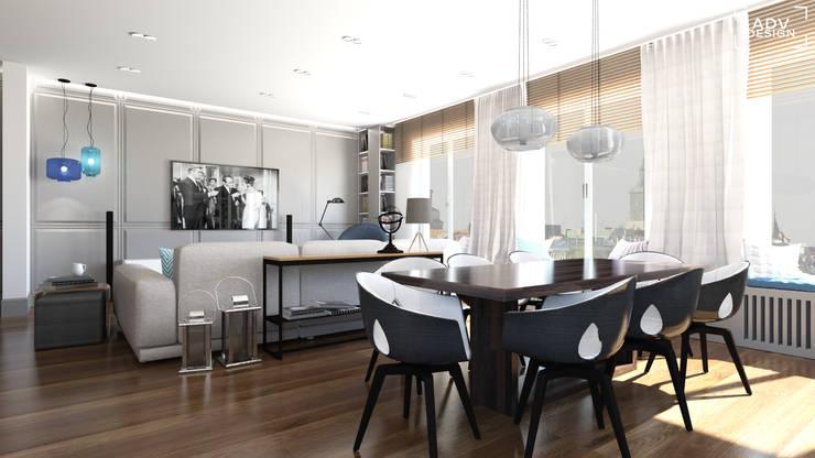 Część dzienna - jadalnia, salon: styl , w kategorii Jadalnia zaprojektowany przez ADV Design
