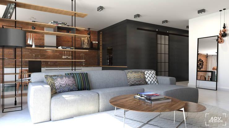 Część dzienna - salon: styl , w kategorii Salon zaprojektowany przez ADV Design,Industrialny