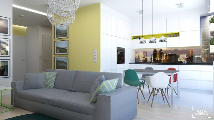 Część dzienna - salon, kuchnia: styl , w kategorii Kuchnia zaprojektowany przez ADV Design