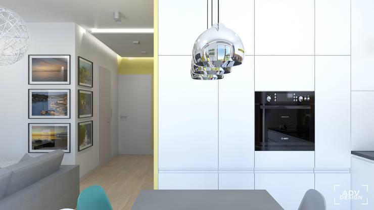 Część dzienna - kuchnia, hol: styl , w kategorii Kuchnia zaprojektowany przez ADV Design