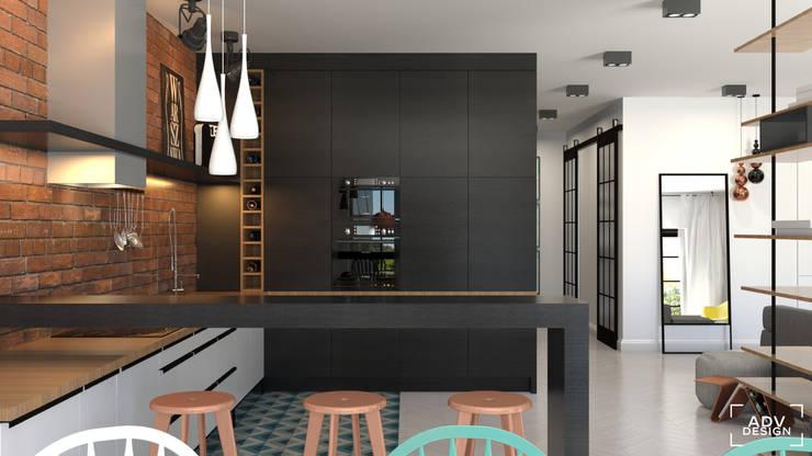 Część dzienna - kuchnia: styl , w kategorii Kuchnia zaprojektowany przez ADV Design,Industrialny