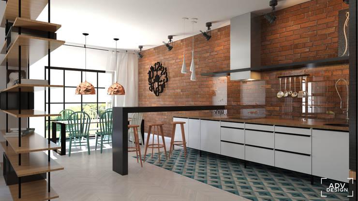 Część dzienna - kuchnia, jadalnia: styl , w kategorii Kuchnia zaprojektowany przez ADV Design,Industrialny