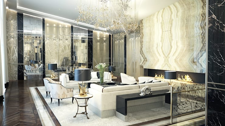Интерьеры современного особняка в Beverly Hills, NY, USA: Гостиная в . Автор – Anton Neumark