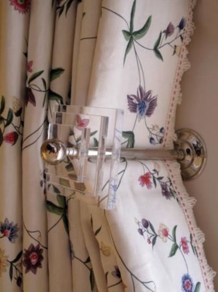 Perspex and Chrome Curtain Holdbacks:  Bedroom by Meltons