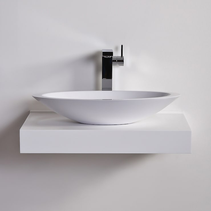 Lusso Stone Egg shell Slim Solid surface stone resin counter top basin 600:  Bathroom by Lusso Stone